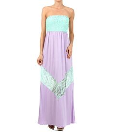 Another great find on #zulily! Mint & Lilac Lace Strapless Maxi Dress #zulilyfinds