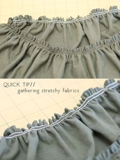 megan nielsen design diary: Quick tip: gathering stretch fabrics Sewing Lessons, Sewing Hacks, Sewing Tutorials, Sewing Crafts, Sewing Patterns, Sewing Tips, Sewing Ideas, Techniques Couture, Sewing Techniques