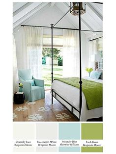 color inspiration. pale blue + whites + grass green