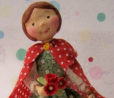 Darling little red riding hood made of paper clay