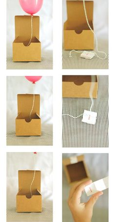 balloon in a box with message. Great idea for invitaion