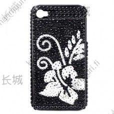Tekojalokivi suojakuori kukkakuviolla, iPhone 4