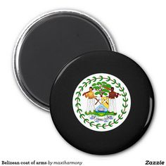 Belizean coat of arms 2 inch round magnet