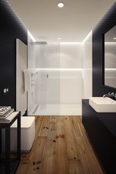 Contemporary 3/4 Bathroom with Rain shower, Handheld showerhead, Turner Chair Side Table - Black, Penny Tile, Wood counters