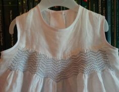 Smocked christening romper suit: detail of simple smocking (hand smocked by Mary Addison) 28.7.14
