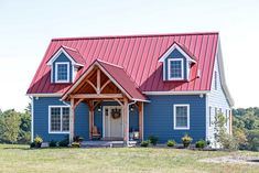 Timber frame home. Inside includes exposes timber beams in the living room and a timber frame front porch.