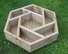 Handmade hexagonal wooden herb wheel garden planter, timber herb planter