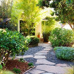 Front Yard and Garden Walkway Landscaping Inspirations 47 Front Yard Walkway, Backyard Walkway, No Grass Backyard, Front Yards, Gravel Patio, Flagstone, Side Yards, No Grass Yard, Sloped Backyard