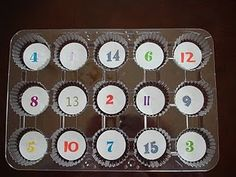 Counting game: students put the correct number of objects to correspond with each number. (great fine motor builder!)