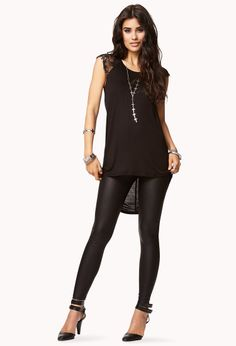 Lace Sleeve High-Low Top | FOREVER21 - 2060426483