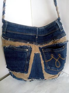 Waist Purse, Japanese Knot Bag, Denim Crafts, Patchwork Jeans, Crossbody Bag, Tote Bag, Old Jeans, Denim Bag, Casual Bags