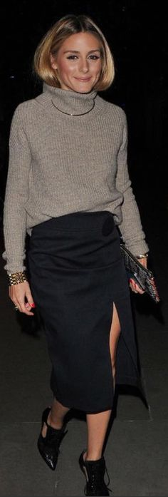 Who made Olivia Palermo's black skirt and cut out boots