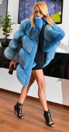 ocean blue fox fur poncho