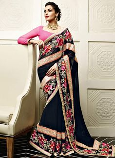 Flattering Black and Pink Embroidered, Patch Border and Resham Faux Georgette Designer Saree www.ethnicoutfits.com Product Code : (4703) Email : support@ethnicoutfits.com What's app : +918141377746 Call : +918140714515