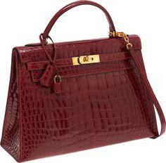 Hermes Kelly Sellier 32cm Rouge H Crocodile Bag Birkin Purse, Hermes Birkin,  Hermes Handbags 131ff8d995