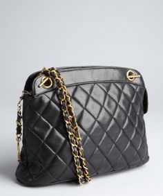 4341f737b71d Chanel   black quilted lambskin double chain vintage shoulder bag