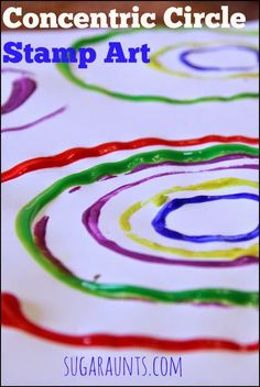 Concentric and abstract stamping art for kids.  these would make beautiful cards and wrapping paper that the kids can make!