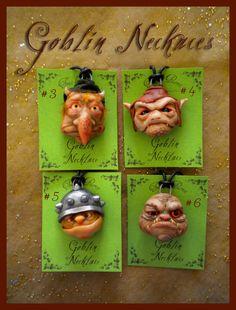 Goblin necklaces. Ooak art. Ooak Art Doll One of a Kind Fantasy Sculpture