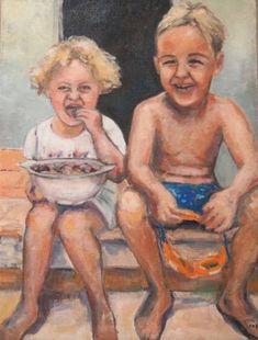 "Saatchi Art Artist Ellen Fasthuber-Huemer; Painting, ""Summerdays Nr. 5 , ""Fresh Figs """" #art Fresh Figs, Oil On Canvas, Saatchi Art, Original Paintings, The Originals, Pictures"