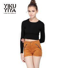 Women Casual Knitwear Pure Color Long Sleeve O Neck Sweaters is on sale at reasonable prices, having a beautiful sweater & cardigan, you can own a beautiful autumn. Crop Top Sweater, Sweater Cardigan, Style Doux, Basic Crop Top, Sweater Fashion, New Fashion, Knitwear, Casual Shorts, Short Dresses