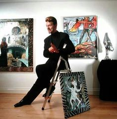 David Bowie with his paintings - 1995