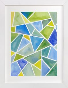 """""""Fragments: Blue"""" - Painting Art Print by sue prue. Geometric Wall Paint, Geometric Painting, Blue Painting, Watercolor Paintings, Painting Art, Watercolours, Digital Paintings, Watercolor Drawing, Abstract Watercolor"""