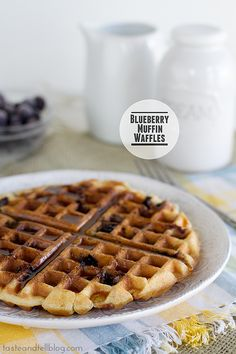 1 1/2 cups flour; 3/4 cup sugar; 1/2 teaspoon salt; 2 teaspoons baking powder; 1/3 cup vegetable oil; 1 egg; 2/3 cup milk; 1 cup blueberries (I used frozen) Melted butter, for the waffle iron