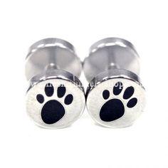 Animal Paw Print Screw Back Pierced Unisex Silver Stainless Steel Fake Plugs Earrings Studs