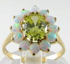 9K Grass Green Peridot Aus Opal Cluster Ring | eBay