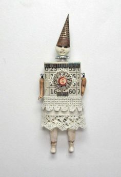 Assemblage MIxed Media Block Art Doll Wendi | Carla_Trujillo - Mixed Media on ArtFire