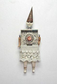 Assemblage MIxed Media Block Art Doll Wendi   Carla_Trujillo - Mixed Media on ArtFire