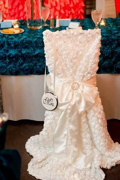 My mom made my cute Bride's chair for our reception!