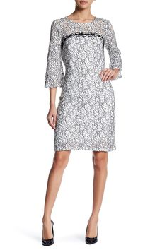 Stretch Lace Bell Sleeve Dress