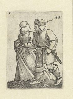 Dansend boerenpaar, Hans Sebald Beham, 1537