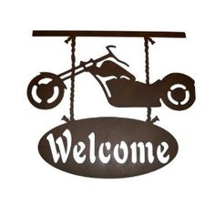 I would feel welcome in a home with this Motorcycle Metal Wall Art.