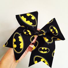 Batman Cheer Bow Black Yellow hair bow by TalkToTheBow on Etsy (null)