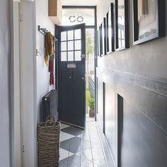 Hallway with blue open front door and painted floorboards Narrow Hallway Decorating, Narrow Entryway, Narrow Rooms, Foyer Decorating, Decorating Ideas, Hallway Paint, Grey Hallway, Victorian Terrace Hallway, Dark Grey Front Door