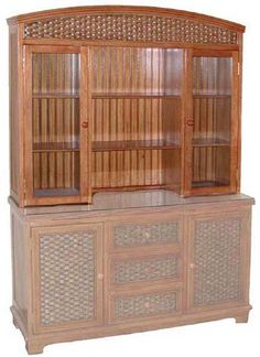 Cottage Dining Room Wicker Buffet And Hutch