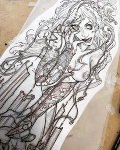 Melinoe 👻 (repost cause the photo was being weird) Horror Drawing, Graffiti Drawing, Scary Tattoos, Body Art Tattoos, Dark Art Illustrations, Illustration Art, Mermaid Sleeve Tattoos, Scary Drawings, Witch Tattoo
