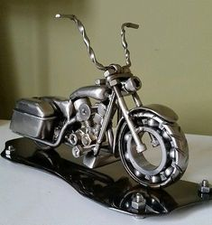 Scrapmetal art Harley Davidson Road King Motorcycle