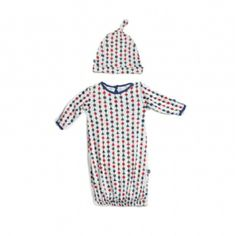 Print Layette Gown & Knot Hat Set in Multi-Shape