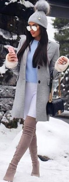#winter #outfits gray beanie