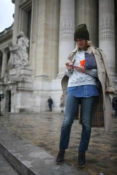 Very casual, but cool, then she tops it off with a Burberry trench. Nice.  via WWD  They Are Wearing: Paris Fashion Week