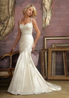 Mermaid Squar Embroidery Taffeta Sweep Train Wedding Dress at Millybridal.com