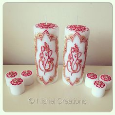Client order completed and sent today. A set of 2 #ganesh #candles & a set of 6 #votive candles. #indian #henna #hennaart #hennadesign #mehndi #mehndidesign #gifts #bespoke #personalised #flowers #floral #lotus #ganpati #hindu #God