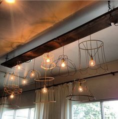 Chandelier made from vintage lamp shade skeletons @Caitlin Burton Burton Burton Dimock