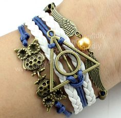 Antique Bronze harry potter magic hallows bracelet, harry potter bracelet, owl wing bracelet--Personalized bracelets via Etsy