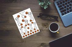 Hand drawn fox stickers basket ball emoji for erin condren