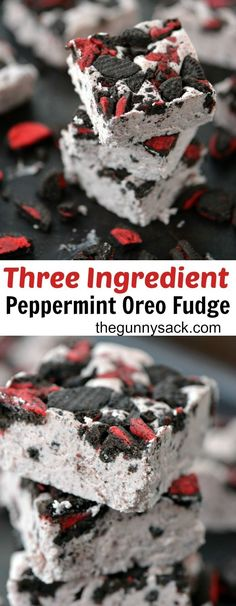 This melt-in-your-mouth creamy Peppermint Oreo Fudge only has three ingredients! It's an easy holiday recipe to make. This melt-in-your-mouth creamy Peppermint Oreo Fudge only has three ingredients! It's an easy holiday recipe to make. Fudge Recipes, Candy Recipes, Dessert Recipes, Mini Desserts, Delicious Desserts, Yummy Food, Easy Desserts, Easy Holiday Recipes, Holiday Treats