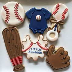 Little slugger baby shower cookies Baby Boy Baseball, Sports Baby, Baseball Birthday, Baseball Party, Baby Shower Baseball, Baseball Memes, Baseball Display, Baseball Season, Baby Shower Niño